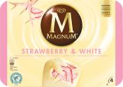 Magnum Strawberry White Familienpackung Eis  <nobr>(4 St.)</nobr> - 8722700054375