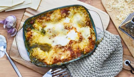 Lasagne mit Grünkohl und Thüringer Bratwurst