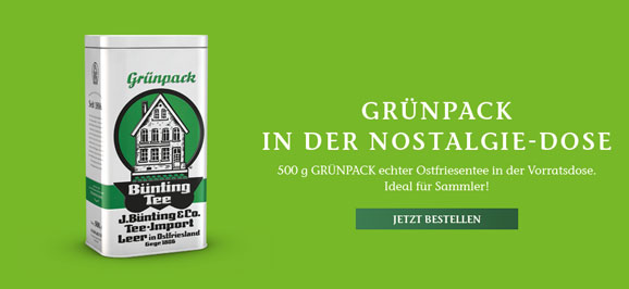 Bünting Tee Grünpack in der Nostalgie-Dose