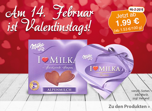 Angebot: Milka I Love Milka Pralinés & hauchzarte Herzen; Streichpreis ab 2,29 Euro, Angebotspreis ab 2,09 Euro, inkl. MwSt. zzgl. Versand