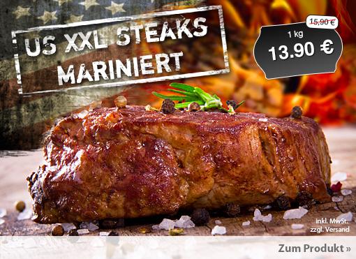 Angebot: US XXL Steack mariniert, 1kg, Streichpreis 15,90 Euro, Angebotspreis 13,90 Euro, inkl. Versand, zzgl. MwSt.