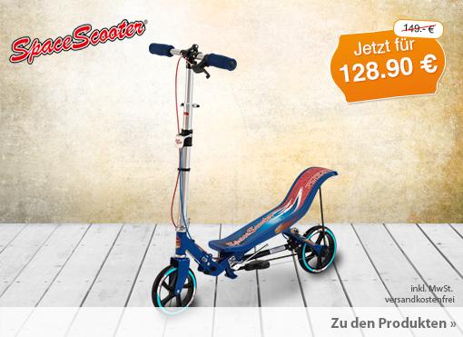 Angebot: Space Scooter X580blau, Streichpreis: 149,00 Euro, Angebotspreis: 124,99 Euro, ink. MwSt., zzgl. Versand