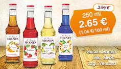 Angebot: Monin Sirup, 250ml, Streichpreis 2,99 Euro, Angebotspreis 2,65 Euro - Zum Bestellen hier klicken.