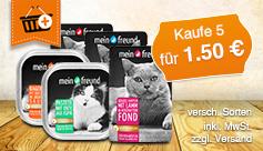 Vorteilskauf: Kaufen Sie 5 Katzenfutter von Mein freund für 1,50 Euro. - zum Bestellen hier klicken.