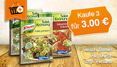 Vorteilskauf: Kaufen Sie 3 Knorr Salatkrönungen für 3 Euro, zzgl. Versand, inkl. MwSt. - zum Bestellen hier klicken.