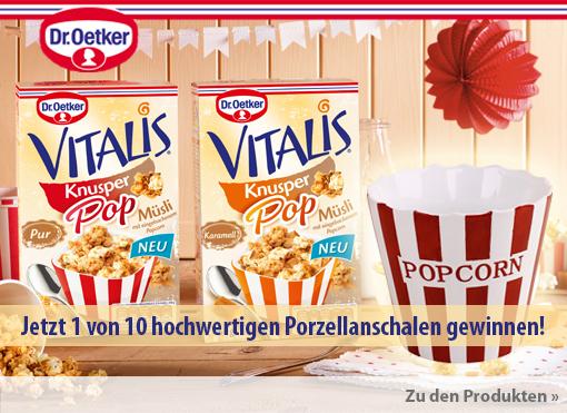 Gewinnspiel: Kaufen Sie im Aktionszeitraum Vitalis Popcorn und Chance auf hochwertige Porzellanschale sichern - zum Mitmachen hier klicken.