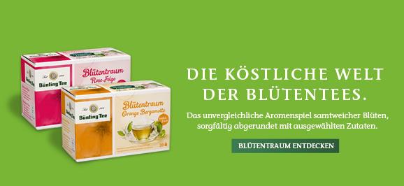 Bluetentee - Blütentraum Holunder Quitte (20 x 2,50 g), Bünting Blütentraum Lavendelblüte Granatapfel (20 x 2,50 g), Bünting Blütentraum Rose Feige (20 x 2,25 g), Bünting Blütentraum Orange Bergamotte (20 x 2,50 g), Bünting Blütentraum Jasminblüte Vanille (20 x 2,50 g)