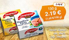 Angebot: Saupiquet Thunfischfilets, 130 g, Streichpreis 2,49 Euro, Angebotspreis 2,19 Euro zzgl. Versand, inkl. MwSt. - zum Bestellen hier klicken.