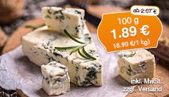 Angebot: Societe Roquefort 52% Fett i.Tr., 100 g, Streichpreis: 2,07 Euro; Angebotspreis: 1,89 Euro; zzgl. Versand, inkl. MwSt. - zum Bestellen hier klicken.