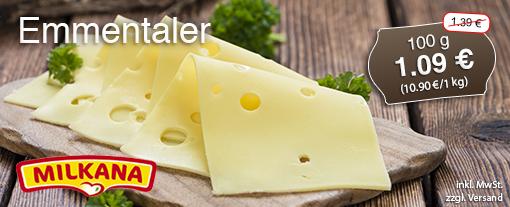 Angebot: Milkana Emmentaler, 100 g, Streichpreis:  1,39 Euro, Angebotspreis: 1,09 Euro, inkl. MwSt., zzgl. Versand - Hier klicken um zur Frischetheke zu gelangen.