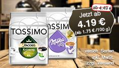 Angebot: Tassimo , Streichpreis: ab 4,49 Euro, Angebotspreis: ab 4,19 Euro - zum Bestellen hier klicken.