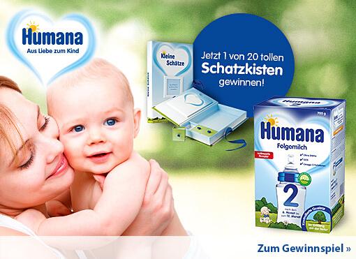 Gewinnspiel: Gewinnen Sie mit Humana 1 von 20 Schatzkisten - hier klicken zur Gewinnspielfrage.