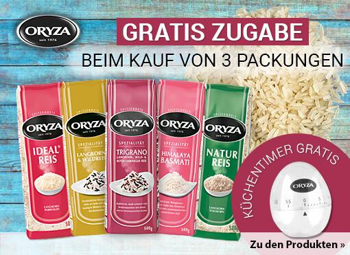 Zugabe: Kaufen Sie 3 Oryza Reis-ProdukteArtikel und erhalten eine Küchenuhr gratis - zum Bestellen hier klicken.