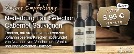 Wein des Monats. Nederburg Fair Selection Cabernet Sauvignon (750 ml)für 5,99 Euro statt 6,99 Euro