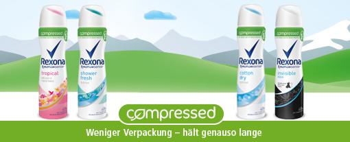 Rexona Compressed weniger Verpackung - hält genauso lange