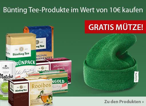 Angebot: Bünting Tee Produkte im Wert von 10 Euro kaufen und eine gratis Mütze erhalten