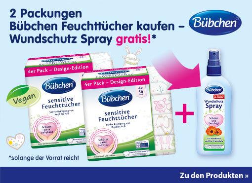 Angebot: Kaufen Sie zwei Packungen Bübchen Feuchttücher und erhalten Sie 1 Bübchen Wundschutz-Spray gratis
