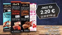 Angebot: Lindt Hello Schokolade, Preis 2,20 Euro, 100 g, versch. Sorten, inkl. MwSt., zzgl. Versand