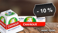 Sortiment: Sparen Sie 10 Prozent auf den französischen Ziegenweichkäse Chavroux - zum Bestellen hier klicken.