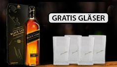 Eine Flasche Johnnie Walker Whisky kaufen und 4 Gläser gratis erhalten - zum Bestellen hier klicken