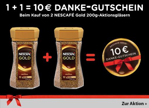 Sofortrabatt: Beim Kauf von zwei Nescafe Gold 200 g -Aktionsgläsern und einen 10 Euro Wertgutschien von mytime erhalten. Zum Bestellen hier klicken.