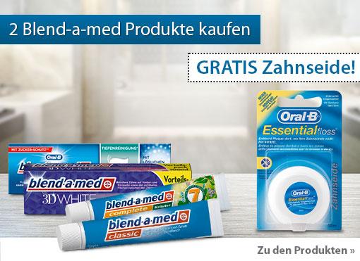 Beim Kauf von zwei Blend-a-med Produkten erhalten Sie eine Zahnseide ungewachst gratis dazu. Zum Bestellen hier klicken.