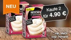 Neu: Kaufen Sie 2 Nescafe Cappuccino Mixes Winter Flavours  Amaretto und zahlen 4,90 Euro. Zzgl. Versand, inkl. MwSt. - zum Bestellen hier klicken.