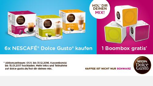 Kaufen Sie 6x Nescafe Dolce Gusto, laden den Kassenbon hoch und erhalte eine Boombox gratis.