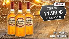 Angebot: Lamb's Spiced Rum (700 ml), Streichpreis 13,99 Euro, Angebotspreis 11,99 Euro, zzgl. Versand, zzgl. Pfand, inkl. MwSt. - zum Bestellen hier klicken