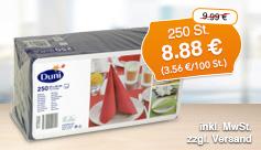 Angebot: Duni Servietten 33x33 cm, 250Stk., Streichpreis 9,99 Euro, Angebotspreis 8,88 Euro, zzgl. Versand, inkl. MwSt. - zum Bestellen hier klicken.
