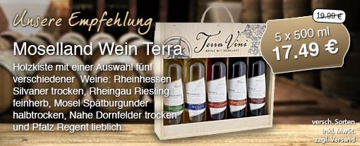 Wein des Monats. Moselland Wein Terra Vini, 5 Flaschen à 500 ml zum Preis von 17,49 Euro statt 19,99 Euro