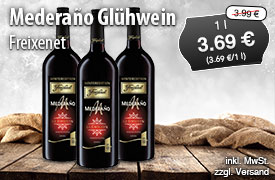 Angebot: Freixenet Winteredition Mederano Glühwein, Streichpreis 3,99 Euro, Angebotspreis 3,69 Euro, zzgl. Versand, zzgl. Pfand, inkl. MwSt. - zum Bestellen hier klicken