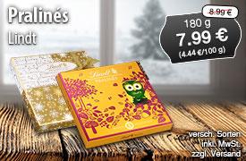 Angebot: Lindt Pralinés, 180g, Streichpreis 8,99 Euro, Angebotspreis 7,19 Euro, zzgl. Versand, inkl. MwSt. -zum Bestellen hier klicken.