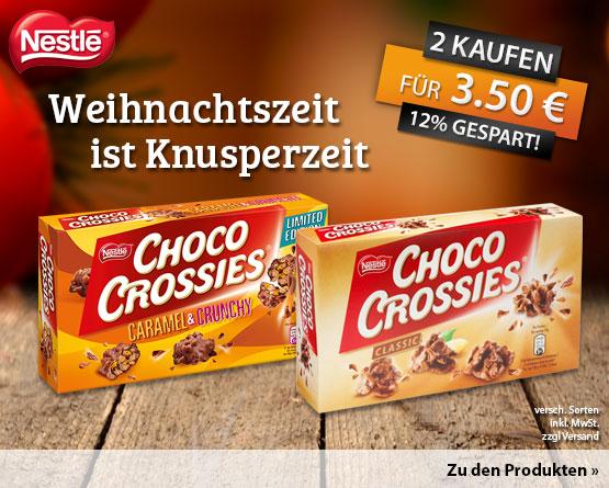 Vorteilskauf: Nestle Choco Crossies, Kaufe 2 zahle 3,50 Euro, zzgl. Versand, inkl. MwSt.- zum Bestellen hier klicken.