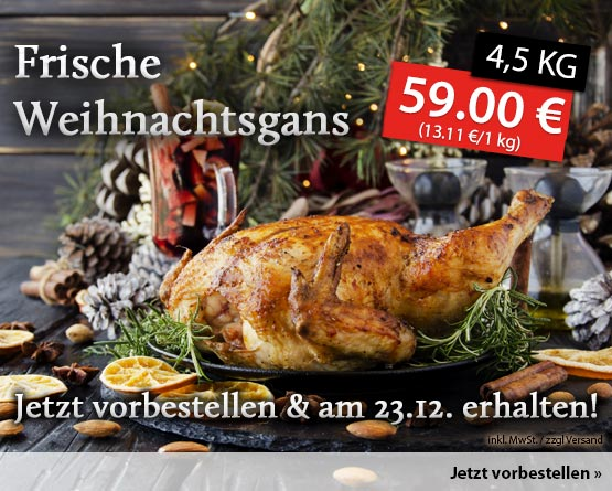 Frische Weihnachtsgans vom Geflügelhof Meyer - zum Bestellen hier klicken.