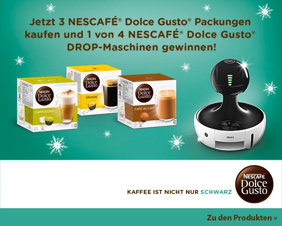 Gewinnspiel: Kaufen Sie 3 Nescafe Dolce Gusto Produkte und haben die Chance auf 1 von 4 nescafe dolce gusto drop maschinen- zum Bestellen hier klicken.