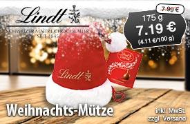 Angebot: Lindt Lindor Weihnachtsmann-Mütze, 175g, Streichpreis 7,99 Euro, Angebotspreis 7,19 Euro, zzgl. Versand, inkl. MwSt. - zum Bestellen hier klicken
