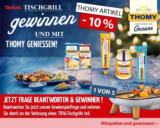 Thomy Gewinnspiel: Gewinnspiel-Frage beantworten und mit etwas Glück 1 von 5 Tefal Tisch-Grills gewinnen - hier klicken zum Mitmachen.