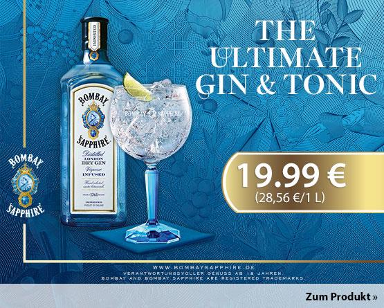 Angebot: Bombay Sapphire London Dry Gin (700 ml), Angebotspreis 19,99 Euro, zzgl. Versand, inkl. MwSt.  - zum Bestellen hier klicken.