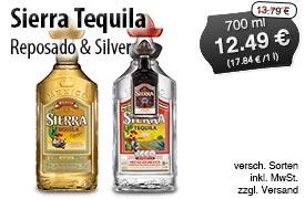 Angebot: Sierra Tequila Silver und Reposado,750ml, Streichpreis 13,79 Euro, Angebotspreis 12,49 Euro, zzgl. Versand, inkl. MwSt. - zum Bestellen hier klicken