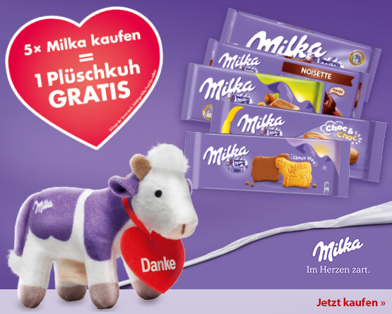 Zugabe: Kaufen Sie 5 Milka Artikel und erhalten eine Plüschkuh gratis, nur solange der Vorrat reicht - zum Bestellen hier klicken.
