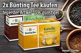 Vorteilskauf: Kaufen Sie 2 Packungen Bünting Tee und Sie erhalten den teuersten Artikel 15% günstiger - zum Bestellen hier klicken