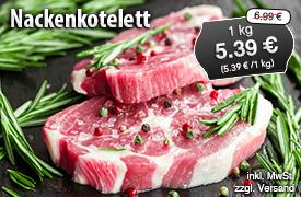 Angebot: Nackenkotelett natur, 1kg, Streichpreis 6,99 Euro, Angebotspreis 5,39 Euro, zzgl. Versand,inkl. MwSt. - zum Bestellen hier klicken