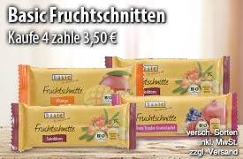 Angebot: Kaufen Sie 4 Basic Fruchtschnitten für 3,50 Euro - zum Bestellen hier klicken!