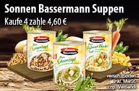 Vorteilskauf: Kaufen Sie 4 Sonnen Bassermann Suppen für 4,60 Euro, zzgl. Versand, inkl. Mwst. - zum Bestellen hier klicken.