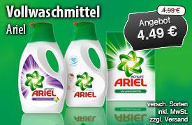 Angebot: Ariel Vollwaschmittel, Streichpreis 4,99 Euro, Angebotspreis 4,49 Euro, inkl. MwSt, zzgl. Versand - zum Bestellen hier klicken