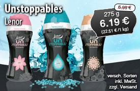 Angebot: Lenor Unstoppables Wäscheparfüm, 275g, Streichpreis 6,99 Euro, Angebotspreis 6,19 Euro, inkl. MwSt, zzgl. Versand  - zum Bestellen hier klicken.