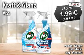 Angebot: Viss Kraft und Glanz, 750ml, Streichpreis 2,29 Euro, Angebotspreis 1,99 Euro , zzgl. Versand, inkl. Mwst. - zum Bestellen hier klicken.