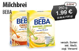 Angebot: Nestlé Beba Milchbrei, 250g, Streichpreis 2,25 Euro, Angebotspreis 1,99 Euro, inkl. MwSt, zzgl. Versand - zum Bestellen hier klicken!