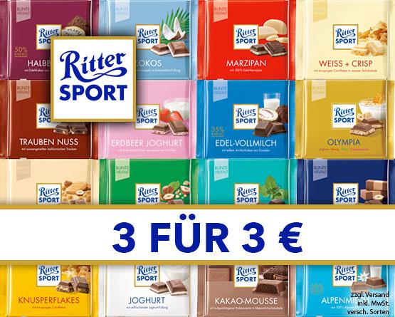 Vorteilskauf: Kaufen Sie 3 Ritter Sport Tafeln und zahlen Sie nur 3? - zum Bestellen hier klicken.
